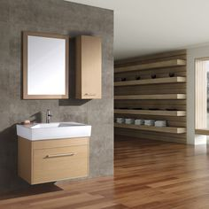 Bathroom: Cool Bathroom Vanity With Vertical Rectangle Frameless Mirror Mixed With Round Sink Floating Faucets And Dark Floor:
