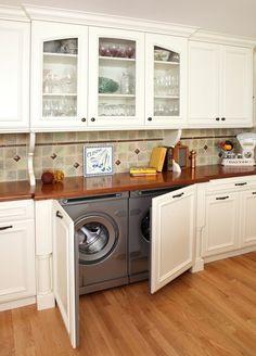 washer and dryer hidden in kitchen