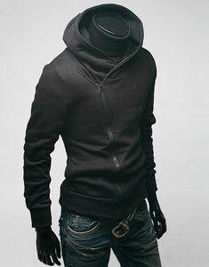 Men s High Funnel Neck Zip Hoodie Sweater Black M L XL XXL   eBay  Sweatshirt Jacke, 7249af94fa9