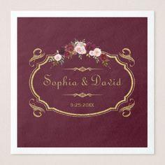 Romantic Burgundy Marsala Floral Fall Wedding Paper Dinner Napkin