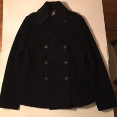 J.Crew Black Peacoat 100% Wool Size XS Beautiful timeless J.Crew Peacoat in Black Size XS. Great condition, wool looks and feels like new. 8 button front with 2 hook and eye on top. Side entry pockets and back vent. Smoke Free home. If your a size XS you won't regret this purchase. J. Crew Jackets & Coats Pea Coats
