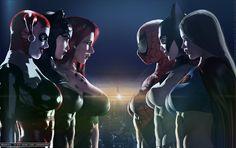 The Trinity Squads, Villainesses vs. Superheroines by DevilishlyCreative.deviantart.com on @DeviantArt