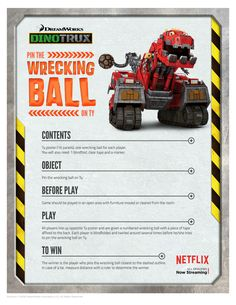 Free Dinotrux Pin the Wrecking Ball on Ty Party Game