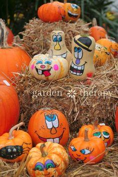 Painted Pumpkin Faces - a super fun fall craft