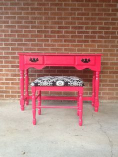 Bright vanity desk for front entry Sassy Pink vintage Vanity/Desk and  large by florencescondo, $299.00