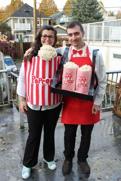 Baby's First Halloween: Babywearing Popcorn Halloween Family Costume. Need a baby costume idea? Check this out!
