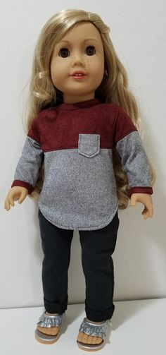 Two Tone Pocket Tee pattern by All Dolled Up Doll Clothes has cute heart elbow patches also! This site links to a very nicesite with cheap patterns and wonderful 18 Sewing Doll Clothes, American Doll Clothes, Clothes Crafts, Girl Doll Clothes, Doll Clothes Patterns, Knitted Doll Patterns, Knitted Dolls, Dress Clothes, Girl Clothing