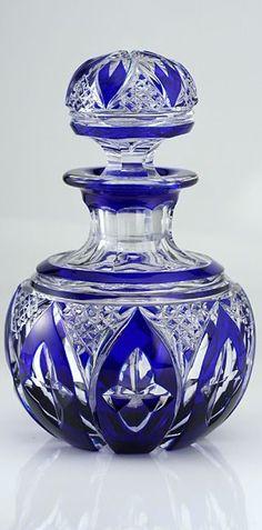 Cobalt Overlay Cut Glass Perfume Bottle.