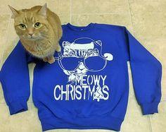 Kids cats sweatshirt, Ugly Christmas Sweater, cat shirt, cat lover gift, Meowy Christmas sweatshirt, cat sweater, youth sweatshirt, for kids