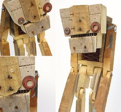 Scrap Wood Projects, Cool Woodworking Projects, Wooden Art, Wooden Crafts, Robot Costumes, Wood Games, Trash Art, Marionette, Small Sculptures