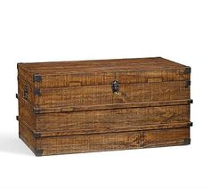 Store your blankets in this reclaimed wood trunk from Pottery Barn for easy cleanup.