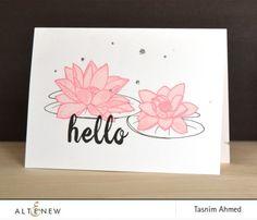 Tasnim uses Lotus Stamp Set for this CAS card. Simple and elegant! www.altenew.com
