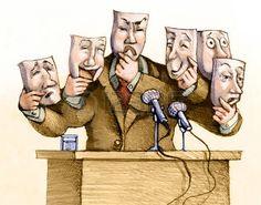 cartone animato: un politico parla al pubblico con una serie di maschere…