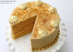Amazing Caramel Vanilla Latte Cake Recipe by MyCakeSchool.com. So moist and flavorful!