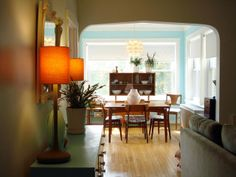 Love the bright blue paint in the breakfast nook.