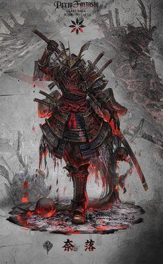 Arte de samurai Nail Desing e-art nail design budapest Ninja Kunst, Arte Ninja, Ninja Art, Fantasy Kunst, Dark Fantasy Art, Fantasy Artwork, Fantasy Character Design, Character Art, Samourai Tattoo