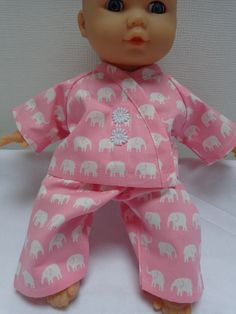 Dolls Clothes Elephant  Pyjamas to fit 30cm (12inch) baby dolls ELC Cupcake  £5.25