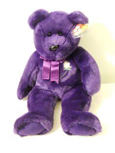 1998 Princess Diana Ty Original Beanie Buddy Purple Soft Bear Pellets Polyester #Ty #Beanie