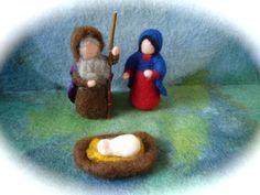 Wet  felted  Nativity Set. Joseph,Mary,Jesus.Waldorf .