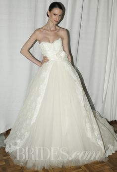 "Brides.com: Rosa Clará - Spring 2014. ""Camboya"" ivory Chantilly and corded lace strapless ball gown with lace bottom, Rosa Clará"