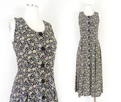 1990s Vintage Floral Revival Maxi Dress - Size 6 / 7