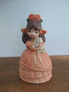 Vintage Little Girl Holding Kitten Figurine by jessamyjay on Etsy