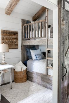 Tour Our New Guest Cottage Bunk Room Tour our cozy guest cottage bunk room complete with reclaimed wood bunk beds. This small but beautiful space is the perfect hideaway for kid's! - Kids Bunk Room with reclaimed wood bunk beds and shiplap. Bunk Beds With Storage, Wood Bunk Beds, Modern Bunk Beds, Small Bunk Beds, Rustic Bunk Beds, Farmhouse Bunk Beds, Fresh Farmhouse, Farmhouse Kitchens, Modern Farmhouse