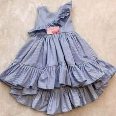 Girls ruffle sleeve stripe sundress Model Number: Baby Girl Dresses Material: Cotton Style: Casual Decoration: Draped Dresses Length: Mid-Calf Collar: O-neck Built-in Bra: No Fit: Fits true to size, take your normal size Xmas Party Dresses, Summer Dresses, Baby Girl Dresses, Flower Girl Dresses, Dress Outfits, Kids Outfits, Fashion Dresses, Princess Dress Kids, Princess Party