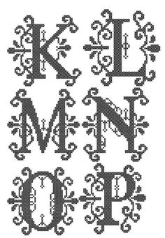 "Formal Cross Stitch Letters Alphabet Patterns - for 4"" square frame size or 4"" round hoop"