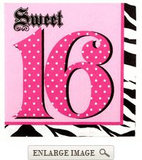Black, pink, and white 3-ply Super Stylish Sweet 16 lunch napkins in packages of 16
