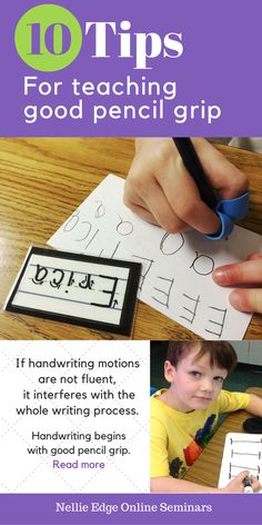 "Teaching pencil grip is one of the foundation skills from Nellie Edge ""Kindergarten-Friendly Handwriting Matters."" An in-depth photo essay, featuring 10 practical handwriting tips, is a ""must-read"" for preschool and kindergarten teachers and parents. This Weekly Focus blog includes FREE parent letters."