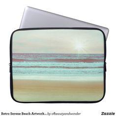 Retro Serene Beach Artwork | Laptop Sleeve Custom Laptop, Beach Artwork, Best Laptops, Best Sites, Personalized Products, Laptop Sleeves, Serenity, Your Photos, Retro
