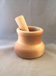 Maple Wood Mortar and Pestal Set  Food Safe  Fee Shipping