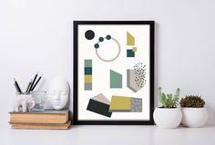 Affiche géométrique à imprimer, décoration murale, affiche à imprimer, poster design, dessin scandinave, geometric shapes, printable de la boutique GraphiJoy sur Etsy