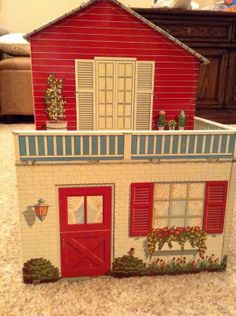 1950's Large Marx Tin Doll House 6 Rooms Bright Colors Two Story Red | eBay