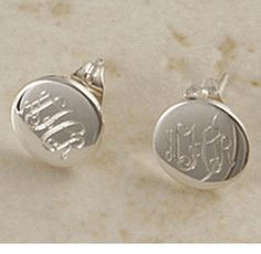 $29 The most darling first pair of earrings you could buy, our NEW small circle monogrammed stud earrings will be her all time favorites. Solid sterling silver with a post and backer lock for easy on and off wear, these are as safe as they are beautiful. Can be engraved with a single letter or monogrammed with initials.