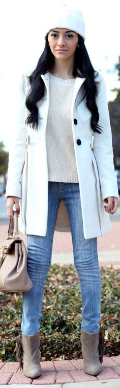 Black & White Fashion coat jeans gray boots handbag fall outfit street style women fashion clothing