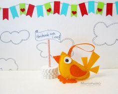Ready To Ship Baby Bird Ornament Felt Little Modern Bird by Feltos