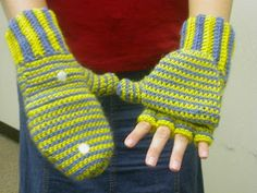 Monday, August 19, 2013 CROCHETED MITTENS / FINGERLESS GLOVES (Women's)     These mittens convert to fingerless gloves by pulling back the m...