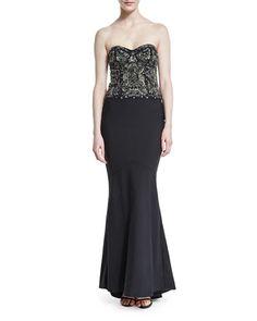 TDACG Haute Hippie Strapless Embellished Gown, Black/Gunmetal