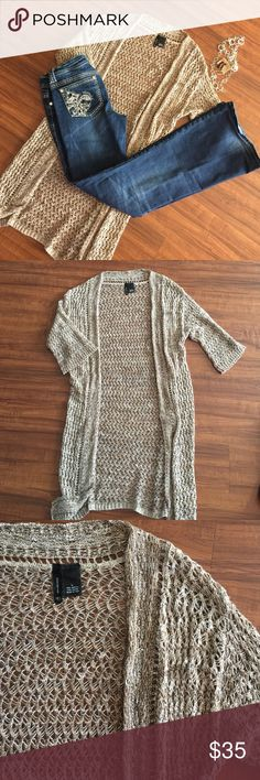 NWOT GORGEOUS LONG CARDIGAN Brand New without tags! Never worn! Absolutely stunning. Beautiful different colors of Browns, creams, and tans spun together for this to accent and complete any outfit New Directions Sweaters Cardigans