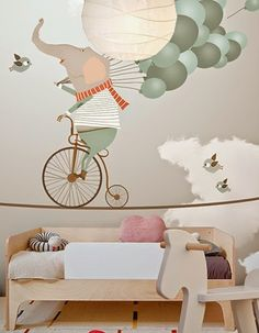 little hands: Little Hands Wallpaper Mural -Elephant riding a bicycle