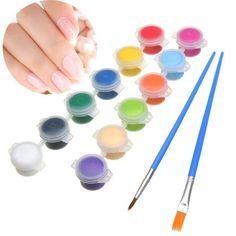 12 Color/set 3g Nail Art DIY Paint Pigment Acrylic Emulsion Graffiti Brush Pen Set