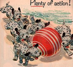 Puppy Dalmatian's at the beach - Vintage 1950 advertisement texaco