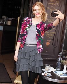 Signature Merino Cardigan ... the cardigan could go with so many outfits. I also like that skirt a lot.