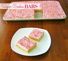 Sugar Cookie Bars ... just like the big, soft pink sugar cookies at the store, which I secretly love!!