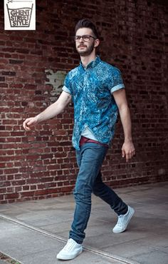 Sander, style, blue shirt, white shoes, jeans, mam, mens, fashion, stylish