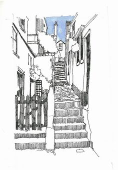 Whitby Steps 1 by John Harrison Sketch Painting, Watercolor Sketch, Art Sketches, Art Drawings, John Harrison, City Sketch, Building Drawing, Watercolor Architecture, Landscape Drawings
