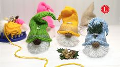 LOOM KNIT Gnome Christmas Ornament Project Pattern on a Small 24- peg Ro... Round Loom Knitting, Loom Knitting Projects, Loom Knitting Patterns, Crochet Projects, Hand Knitting, Loom Knitting Blanket, Knitting Looms, Knifty Knitter, Knitting Tutorials