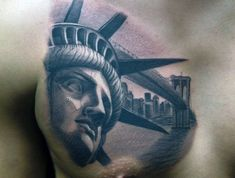 Discover Lady Liberty's torch shining brightly over New York City with this collection of the top 70 best Statue Of Liberty tattoo designs for men. New York Tattoo, Finger Tattoos, Body Tattoos, Sleeve Tattoos, Statue Of Liberty Tattoo, Hand Statue, Paradise Tattoo, Tattoo Themes, Chest Tattoo